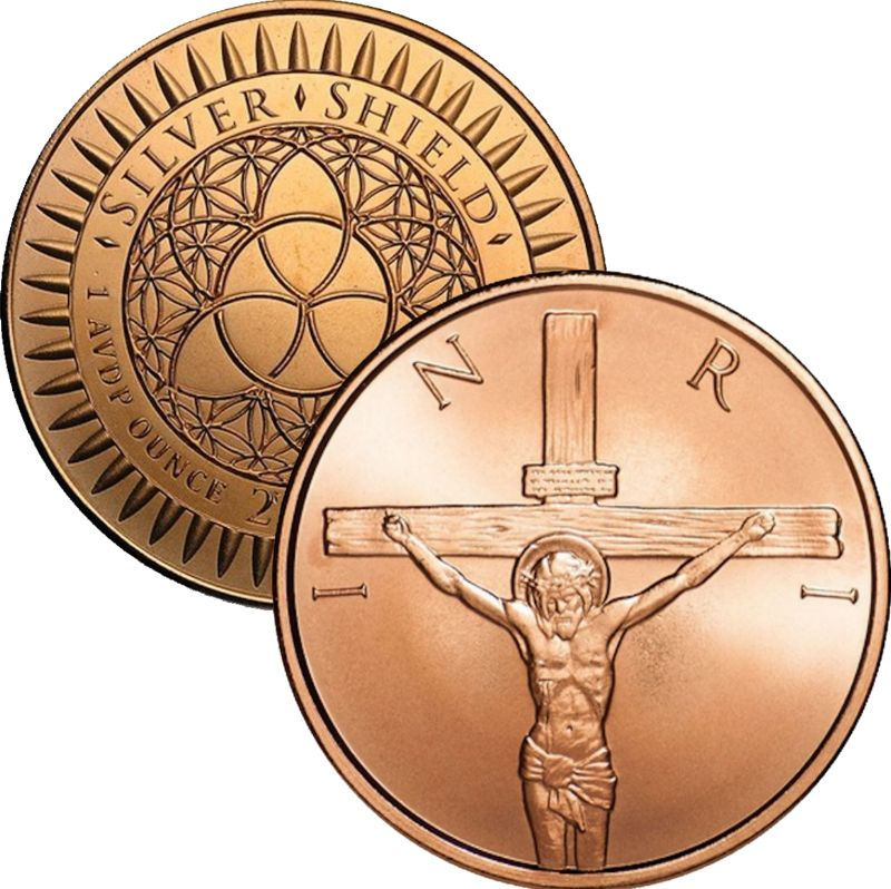 Crucifixion 1 oz .999 Pure Copper Round (2016 Silver Shield)