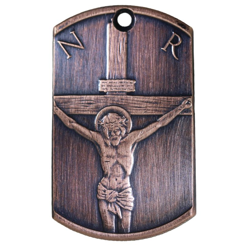 Crucifixion Copper Dog Tag Necklace