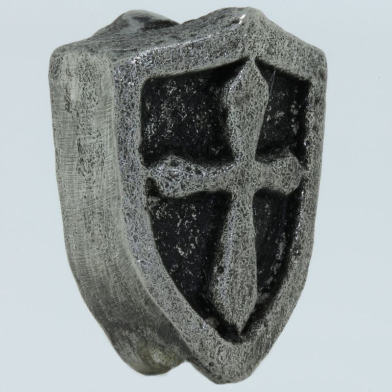 Crusader Shield Bead in Pewter by Marco Magallona