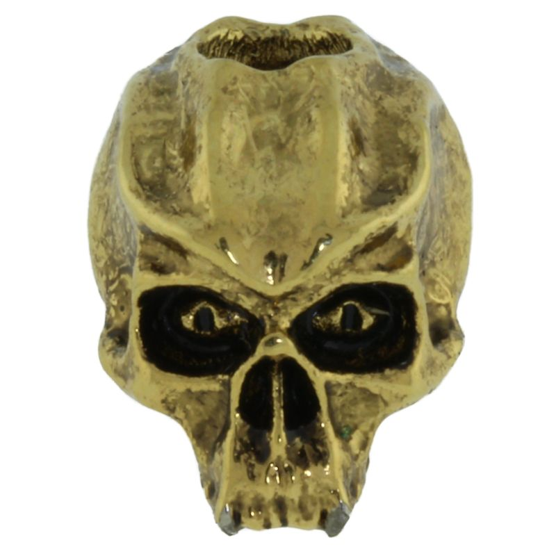 Cyber Skull Bead in 18K Antique Gold Finish by Schmuckatelli Co.