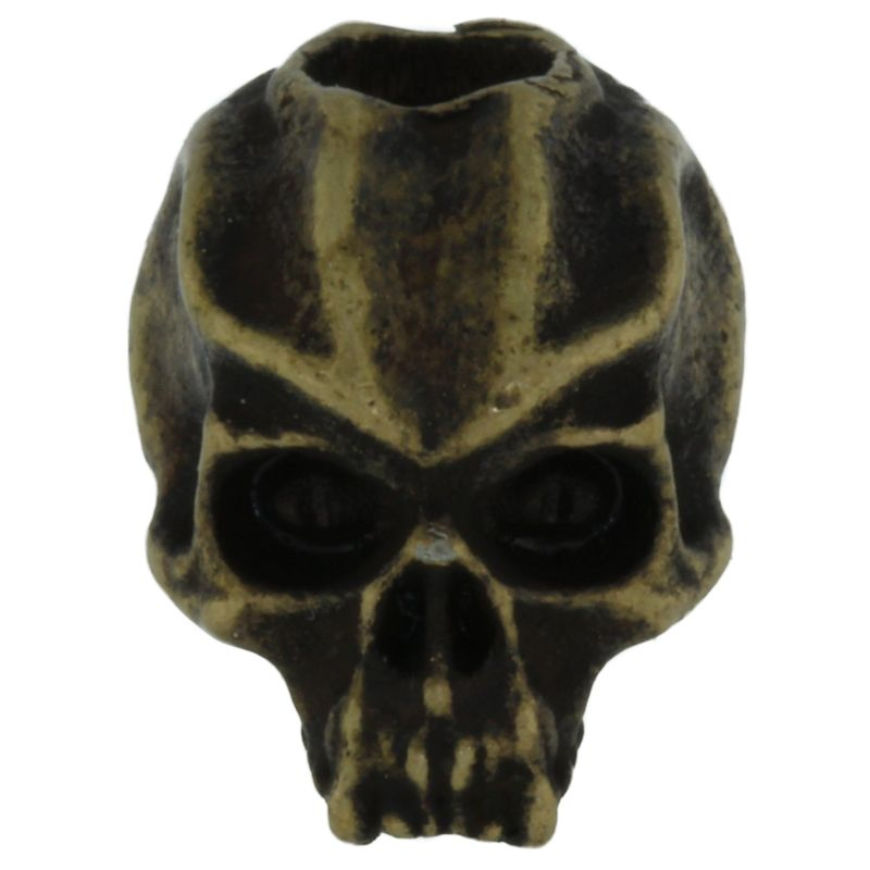 Cyber Skull Bead in Roman Brass Oxide Finish by Schmuckatelli Co.