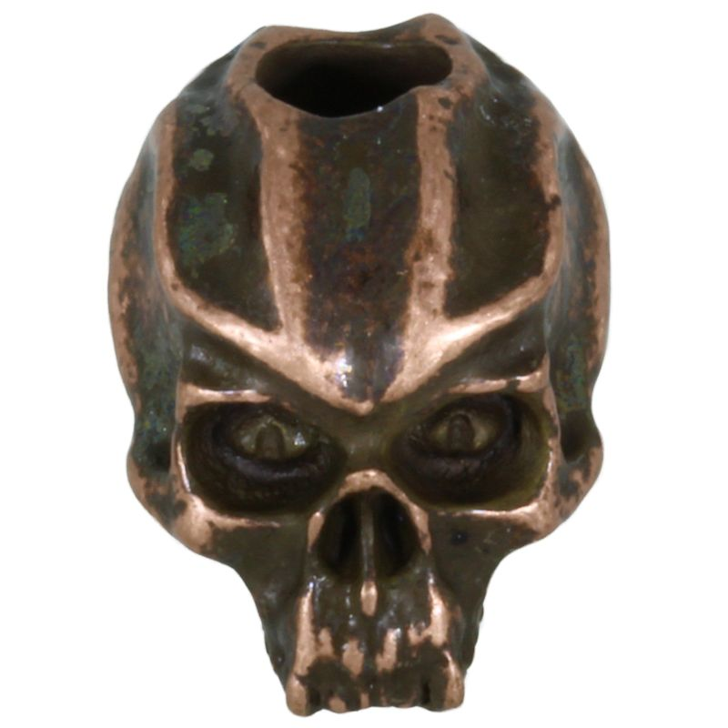 Cyber Skull Bead in Roman Copper Oxide Finish by Schmuckatelli Co.