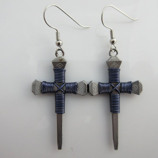 Nail Cross Earrings in Dark Blue By Mr. Willie Hess