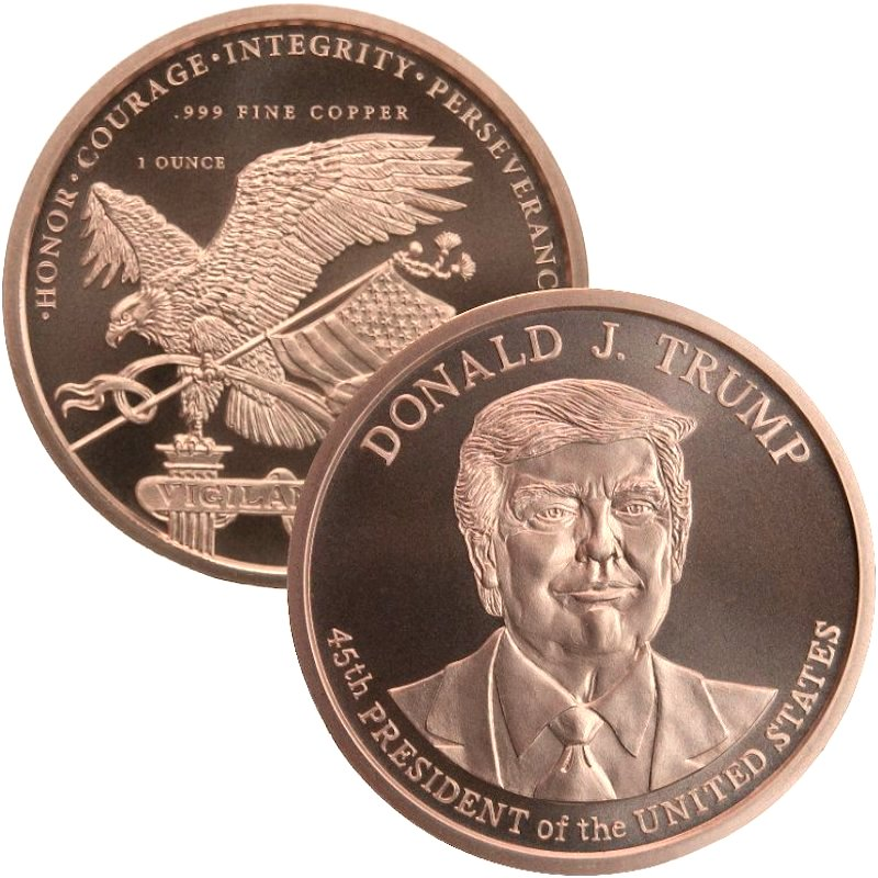 Donald J. Trump 45th President of the United States 1 oz .999 Pure Copper Round (Golden State Mint)