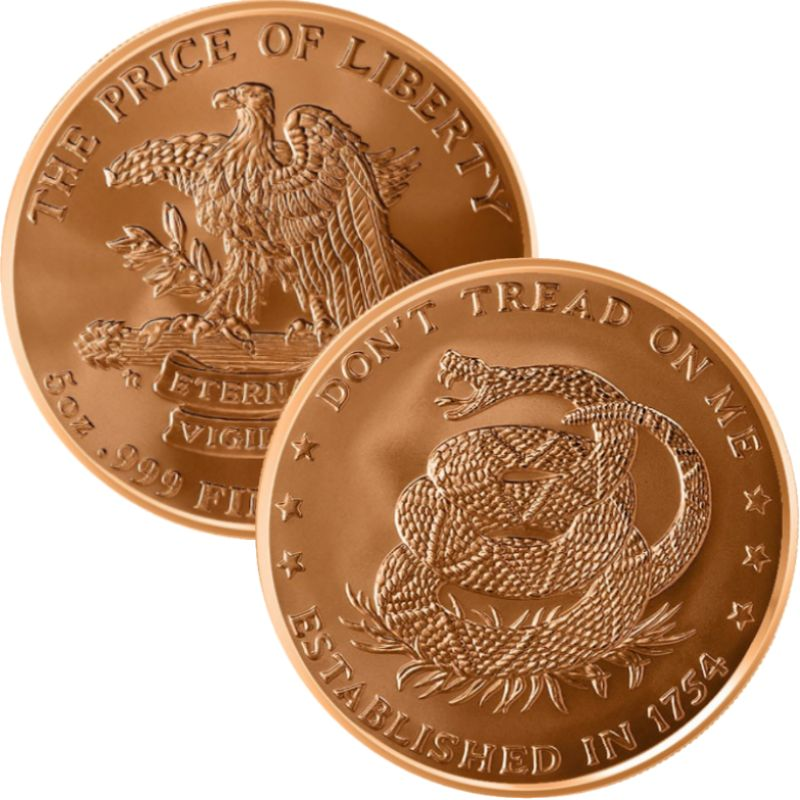 Don't Tread On Me (Est. 1754) 5 oz .999 Pure Copper Round