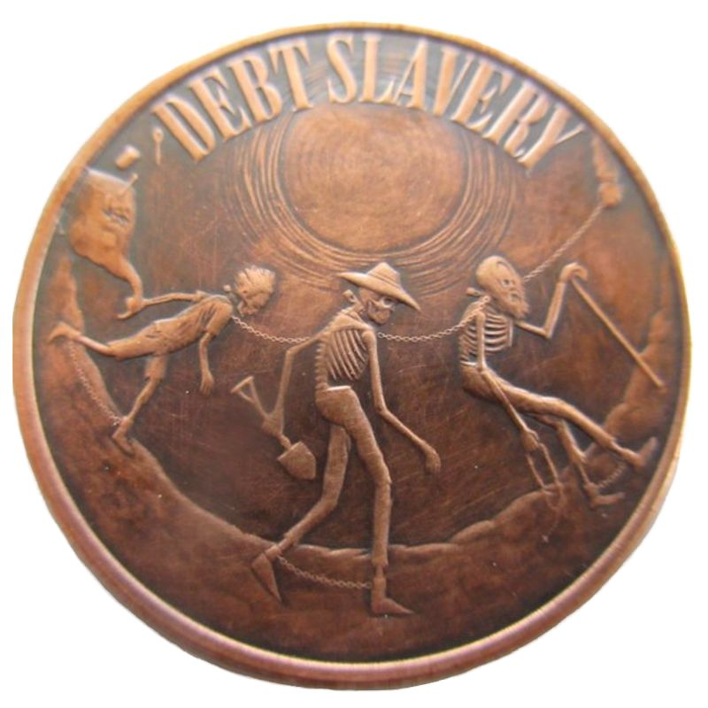 Debt Slavery 1 oz .999 Pure Copper Round (Black Patina) (2016 - 2017)
