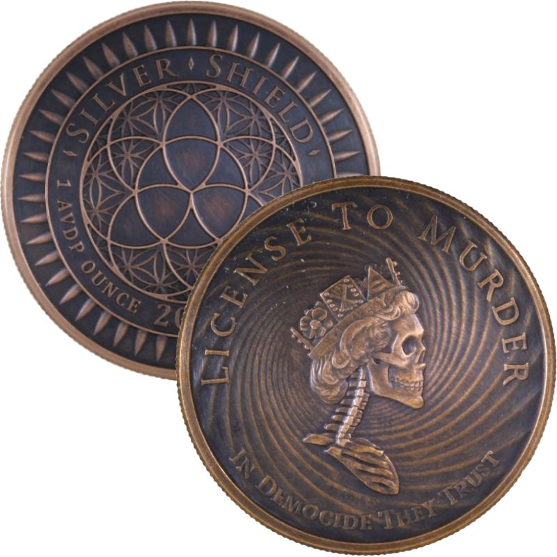 1 oz silver Manifest Destiny Never Trust Government .999 Pure BU COA Indians!
