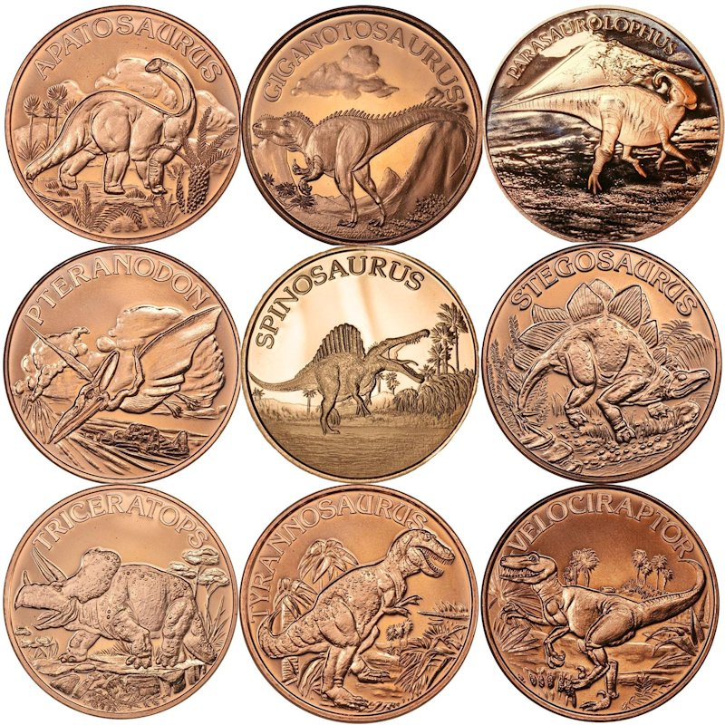 Complete Set of (9) Different Dinosaur Designs 1 oz .999 Pure Copper Rounds