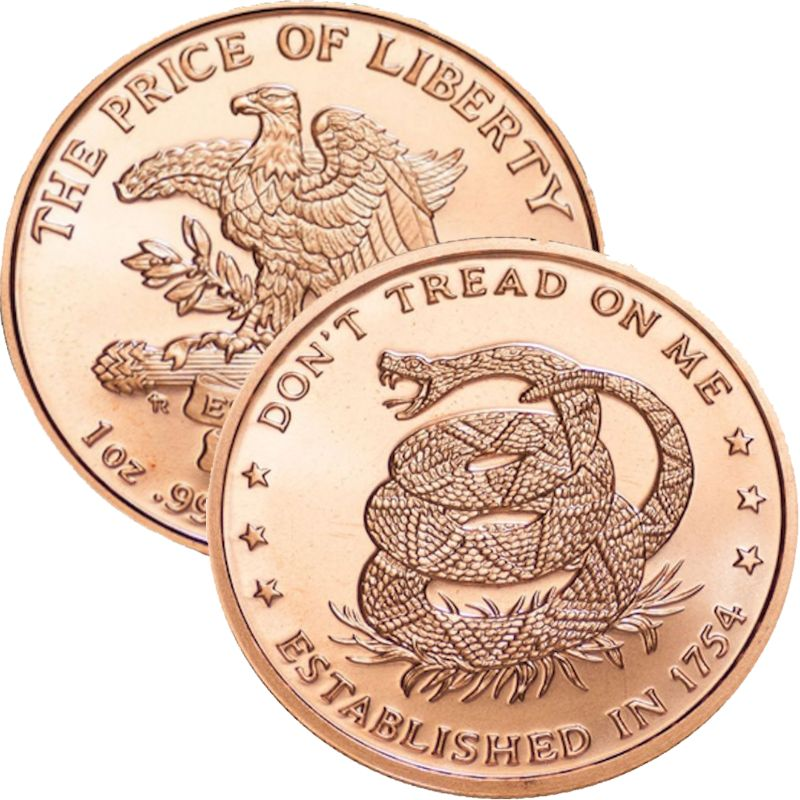 Don't Tread On Me 1 oz .999 Pure Copper Round (Est. 1754)