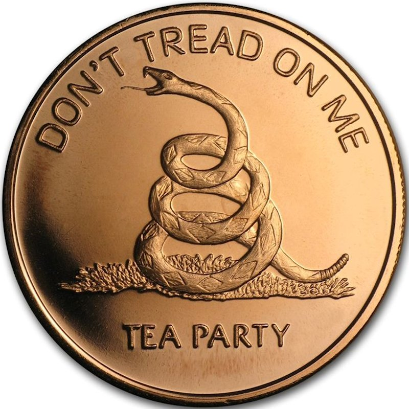 Don't Tread On Me (Tea Party) 1 oz .999 Pure Copper Round (Golden State Mint)