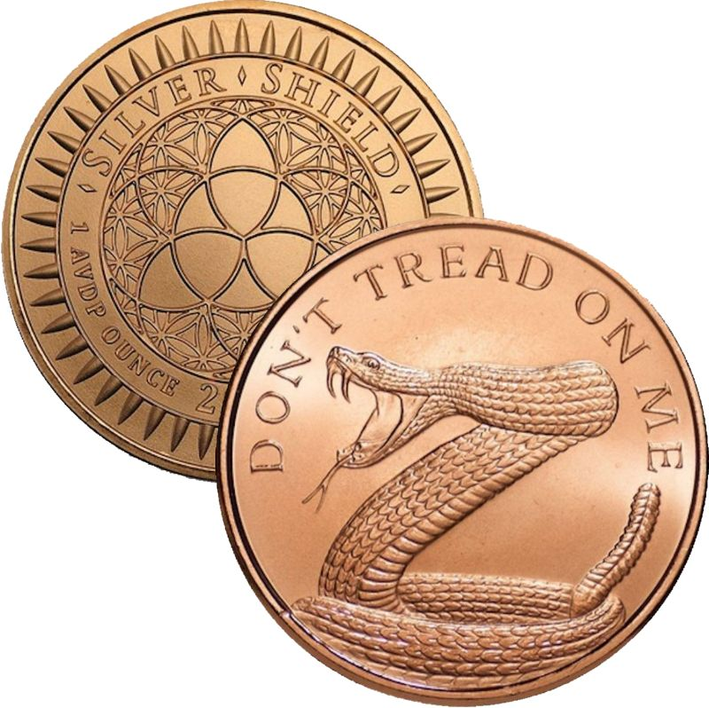 Don't Tread On Me 1 oz .999 Pure Copper Round (2017 Silver Shield)