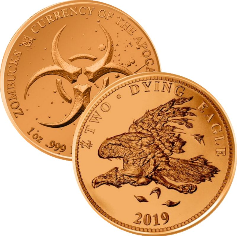 The Dying Eagle 1 oz .999 Pure Copper Round (9th Design of the Zombucks Series)