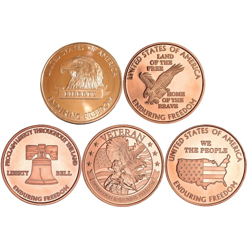 Complete Set of (5) Enduring Freedom Series 1 oz .999 Pure Copper Rounds