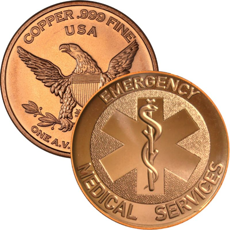 EMS ~ Emergency Medical Services 1 oz .999 Pure Copper Round