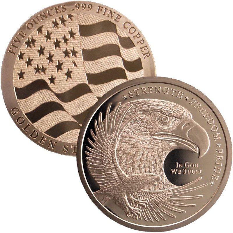 Eagle Design 5 oz .999 Pure Copper Round
