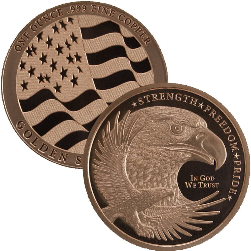 Eagle Strength-Freedom-Pride 1 oz .999 Pure Copper Round (Golden State Mint)