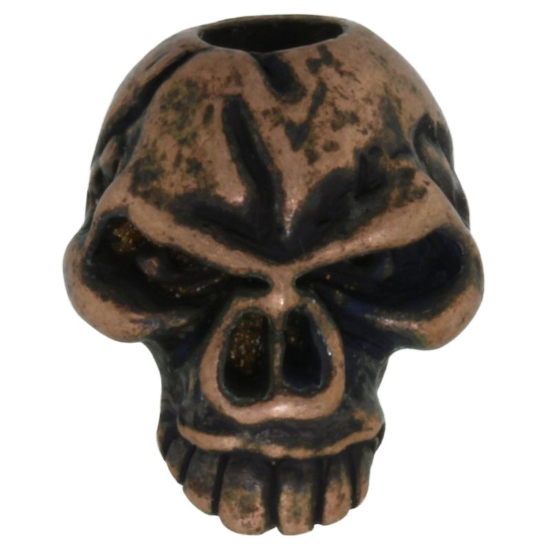 Emerson Skull Bead in Roman Copper Oxide Finish by Schmuckatelli Co.
