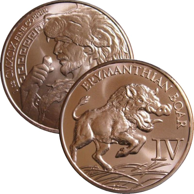 Erymanthian Boar 1 oz .999 Pure Copper Round (4th Design of the 12 Labors of Hercules Series)