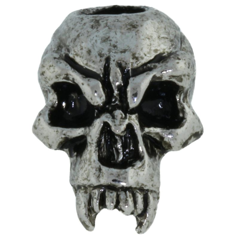 Fang Skull Bead in Antique Rhodium by Schmuckatelli Co.