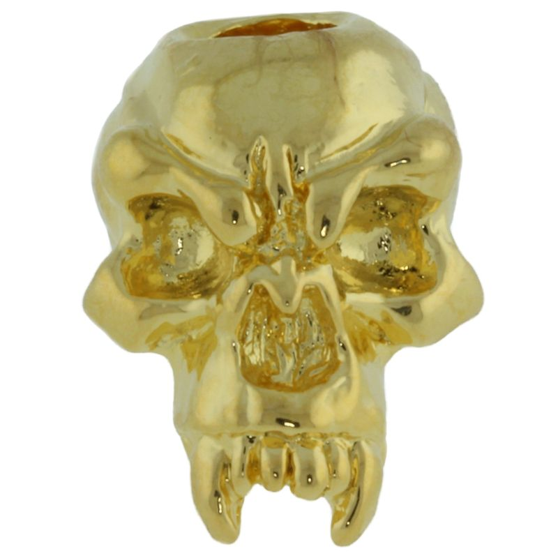 Fang Skull Bead in 18K Gold Plated Finish by Schmuckatelli Co.