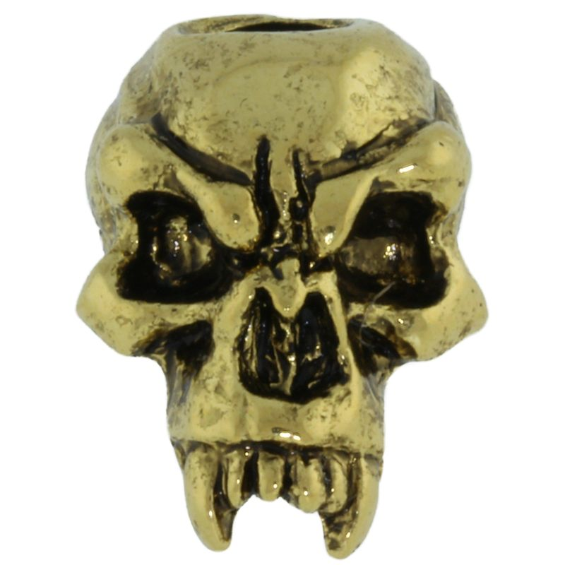 Fang Skull Bead in 18K Antique Gold Finish by Schmuckatelli Co.