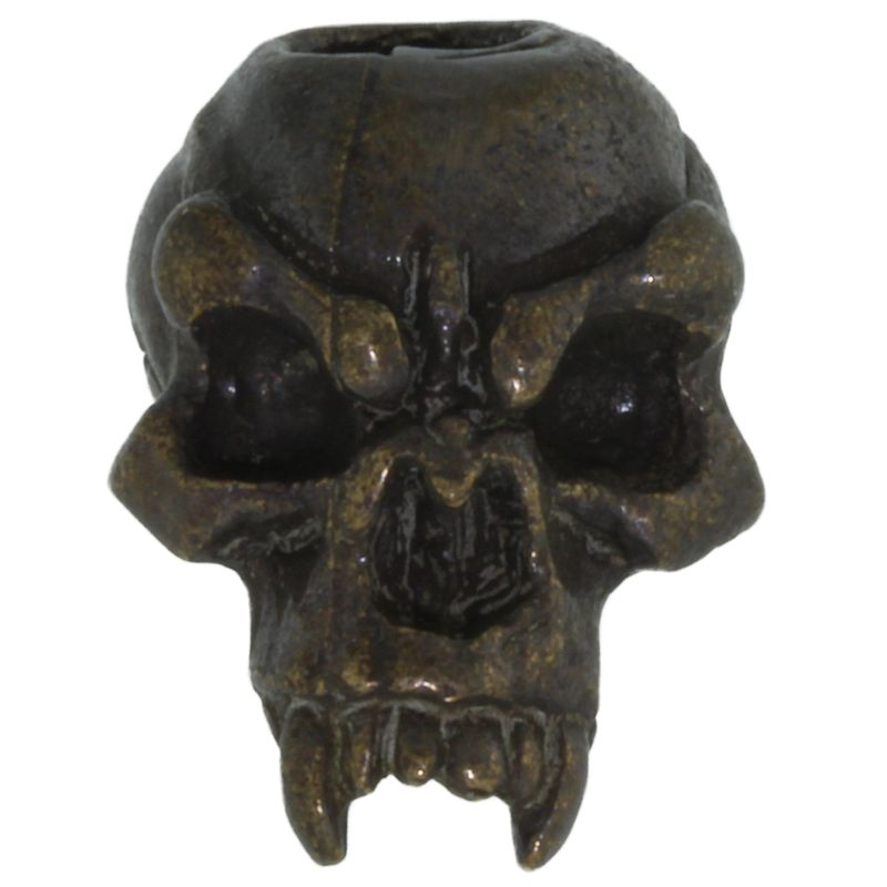 Fang Skull Bead in Solid Oil Rubbed Bronze by Schmuckatelli Co.