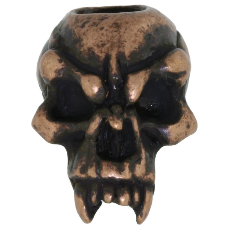 Fang Skull Bead in Roman Copper Oxide by Schmuckatelli Co.
