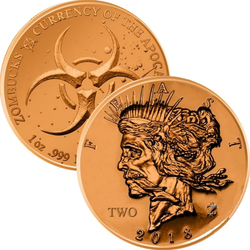 Feast Dollar 1 oz .999 Pure Copper Round (6th Design of the Zombucks Series)