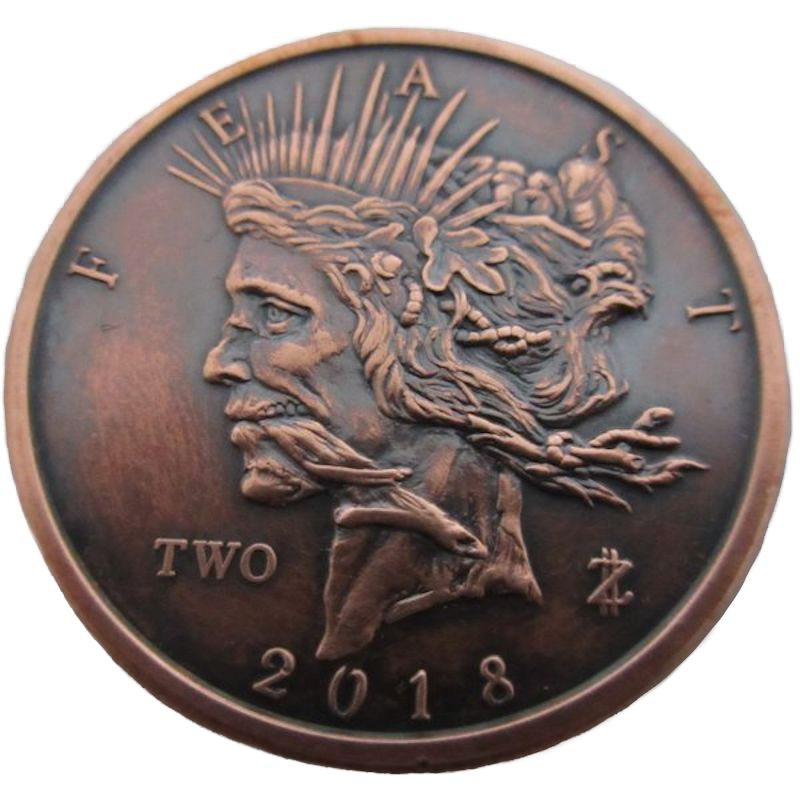 Feast Dollar 1 oz .999 Pure Copper Round (6th Design of the Zombucks Series) (Black Patina)