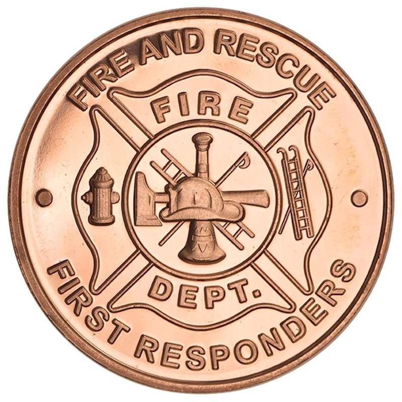 Fire Department - First Responders 1 oz .999 Pure Copper Round