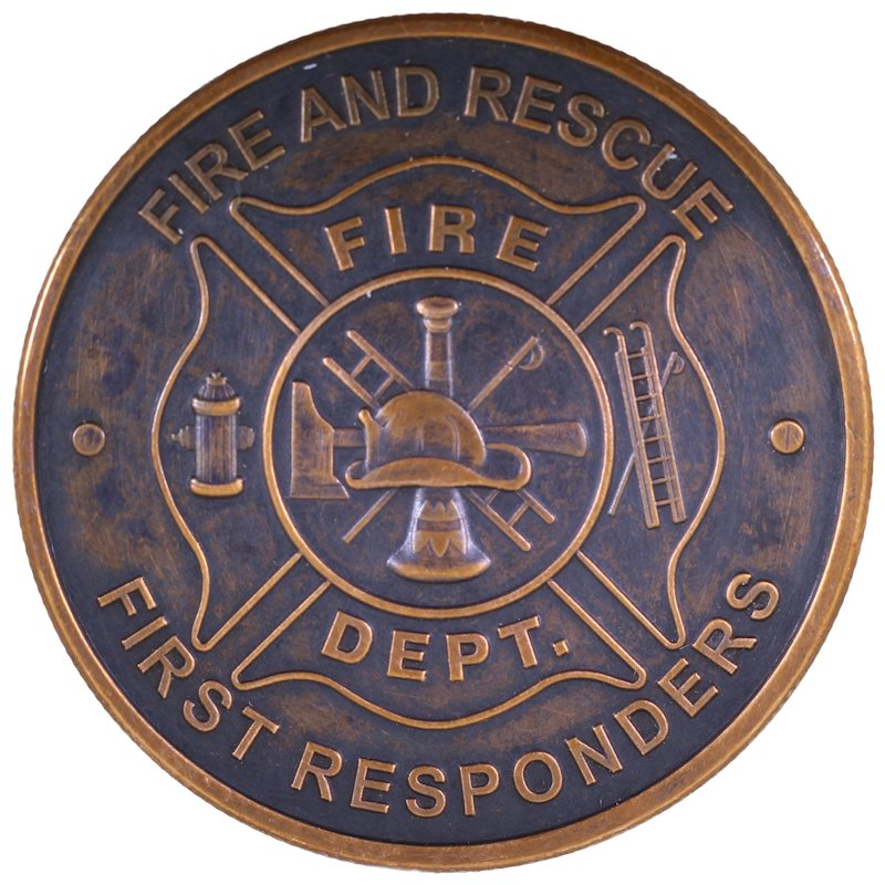 Fire Department - First Responders 1 oz .999 Pure Copper Round (Black Patina)