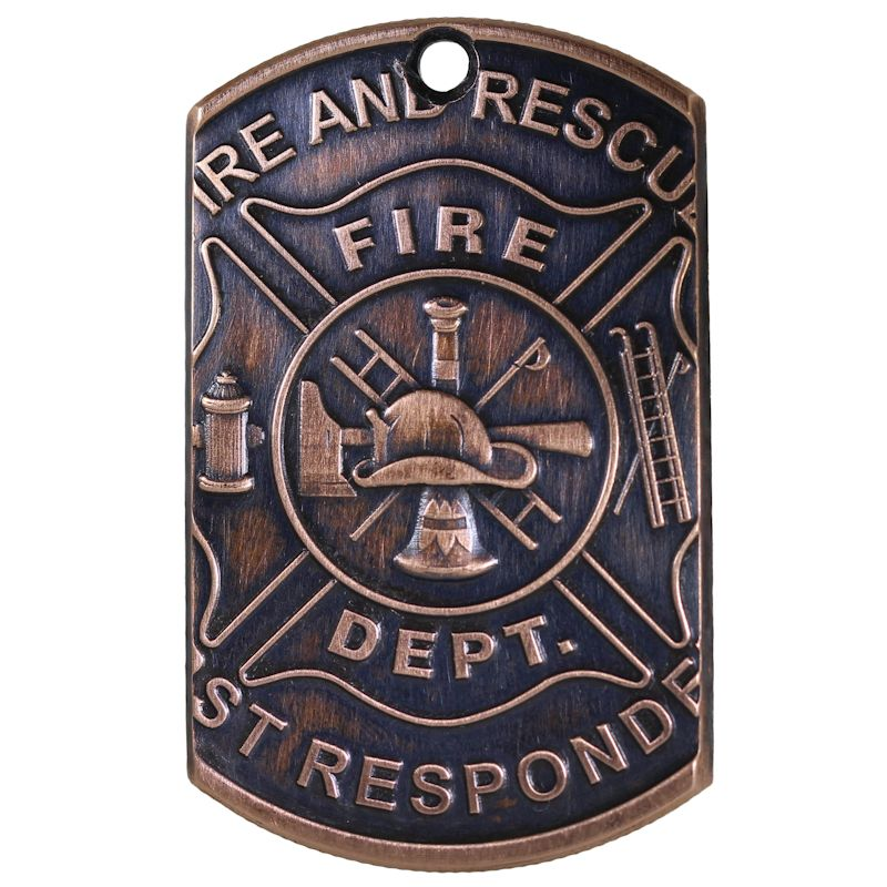 Fire Department - First Responders Copper Dog Tag Necklace