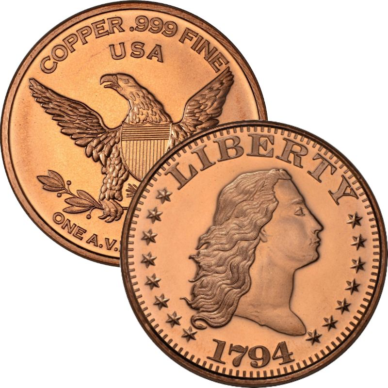 Flowing Hair 1794 Dollar Design (Private Mint) 1 oz .999 Pure Copper Round