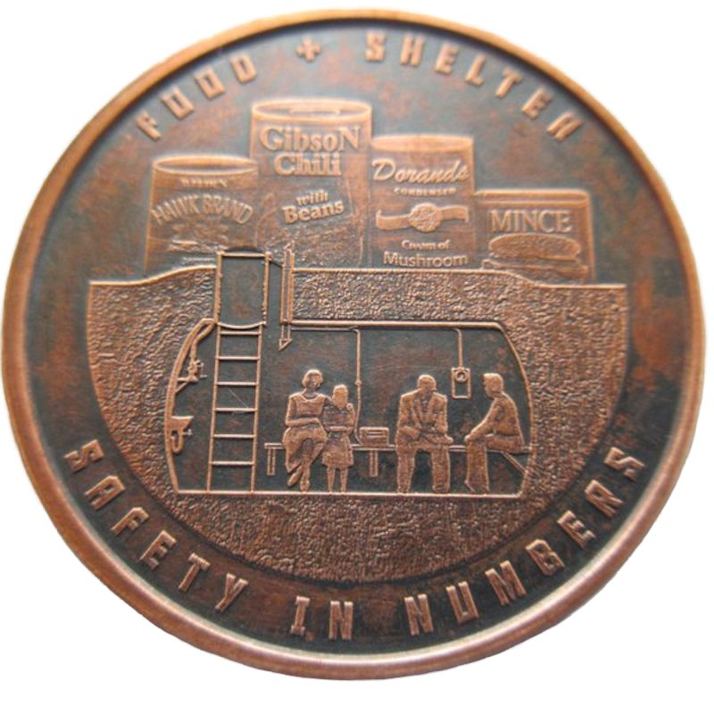 Food And Shelter 1 oz .999 Pure Copper Round (Black Patina)