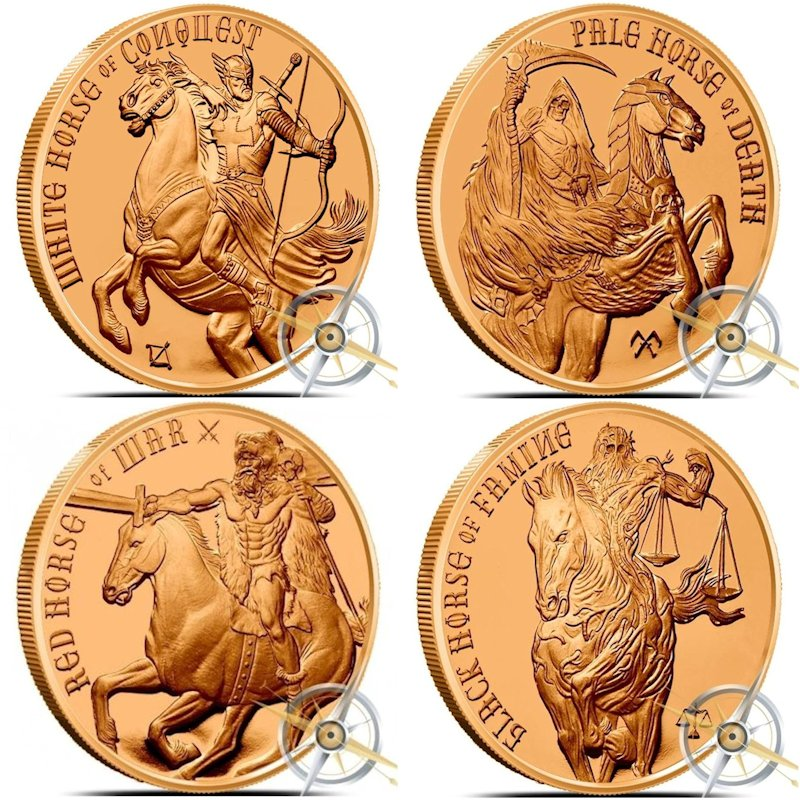 Complete Set of Four Horsemen of the Apocalypse Series 1 oz .999 Pure Copper Rounds