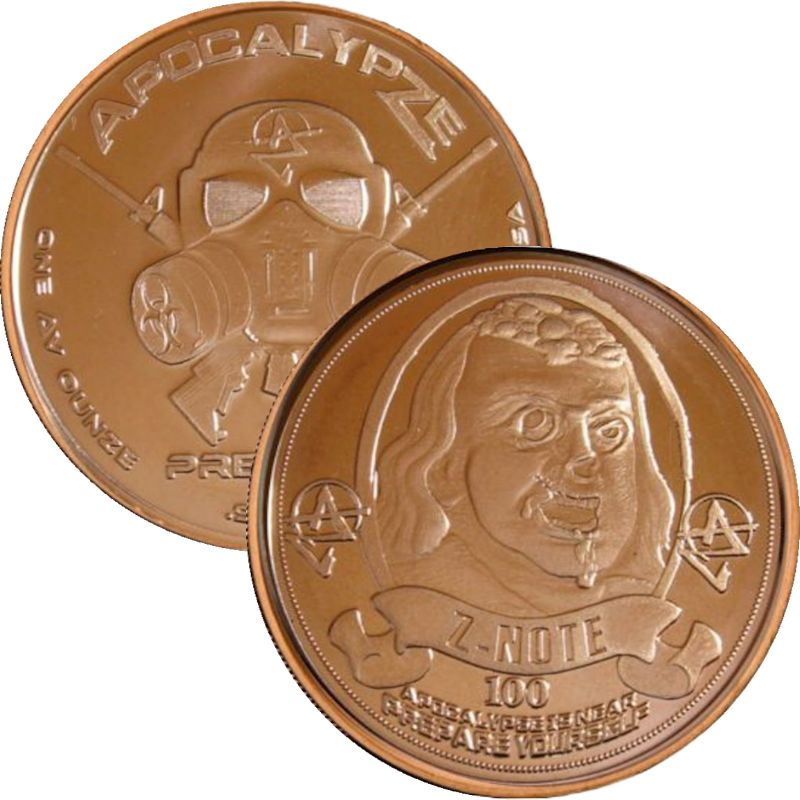 Franklin Z-Note 1 oz .999 Pure Copper Round (1st Design of the ApocalypZe Series)
