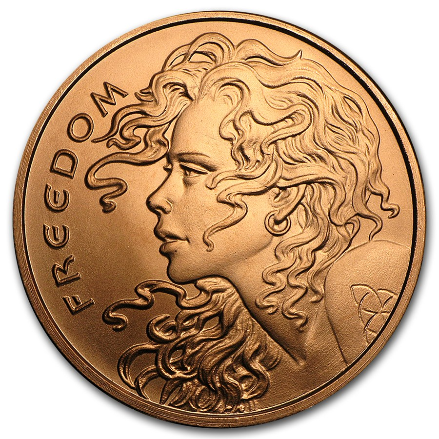 Freedom Girl 1 oz .999 Pure Copper Round (2017 Silver Shield)
