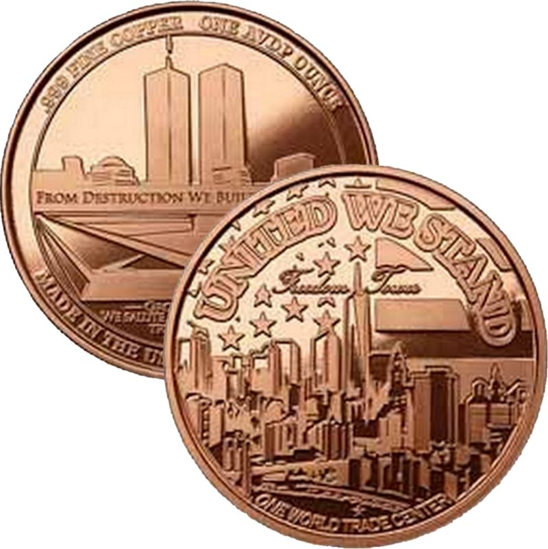 "Freedom Tower ""United We Stand"" 1 oz .999 Pure Copper Round (Presston Mint)"