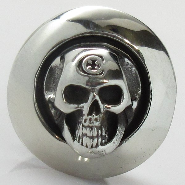 Full Skull Cord Button in White Brass by Covenant Everyday Gear