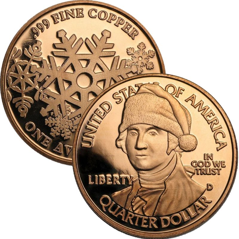 George Washington Santa (Snowflake Back Design Series) 1 oz .999 Pure Copper Round