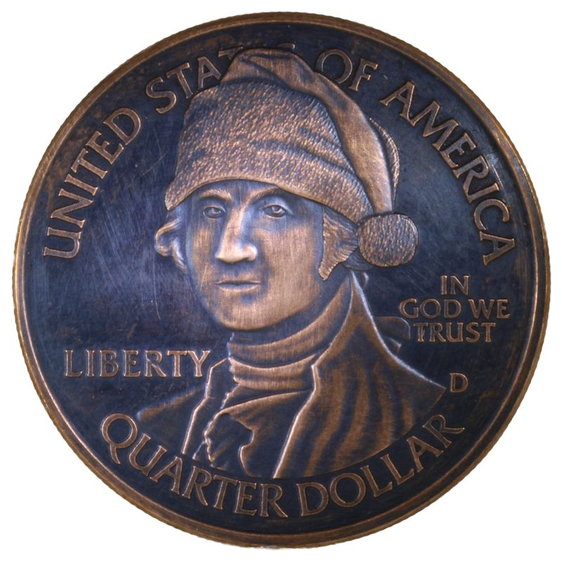 George Washington Santa (Snowflake Back Design Series) 1 oz .999 Pure Copper Round (Black Patina)