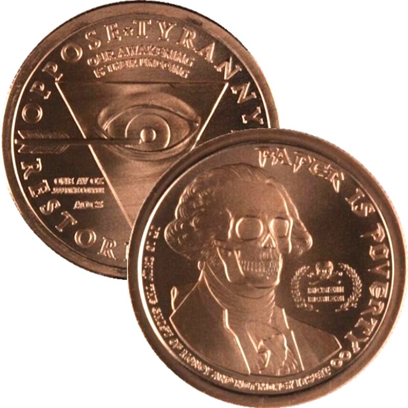 Ghost Money ~ Paper Is Poverty (2014) 1 oz .999 Pure Copper Round