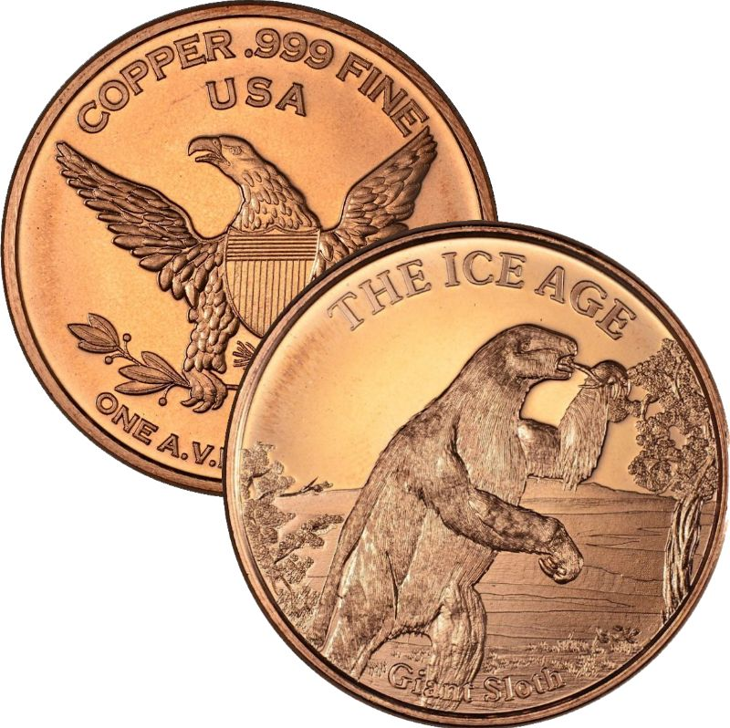 Giant Sloth ~ Ice Age 1 oz .999 Pure Copper Round