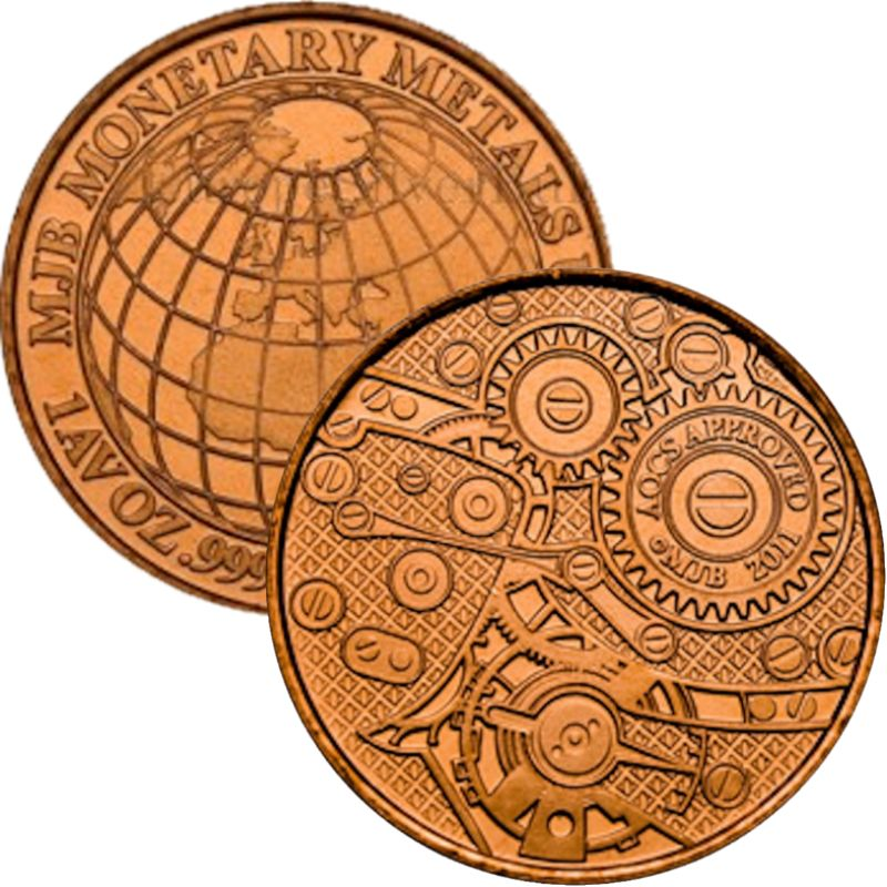 Globe-N-Gears By MJB Monetary Metals (AOCS) (2011) 1 oz .999 Pure Copper Round
