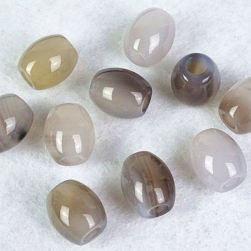 Gray Agate Gemstone Beads (Set of 2 Beads)