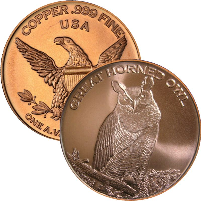 Great Horned Owl (Private Mint) 1 oz .999 Pure Copper Round