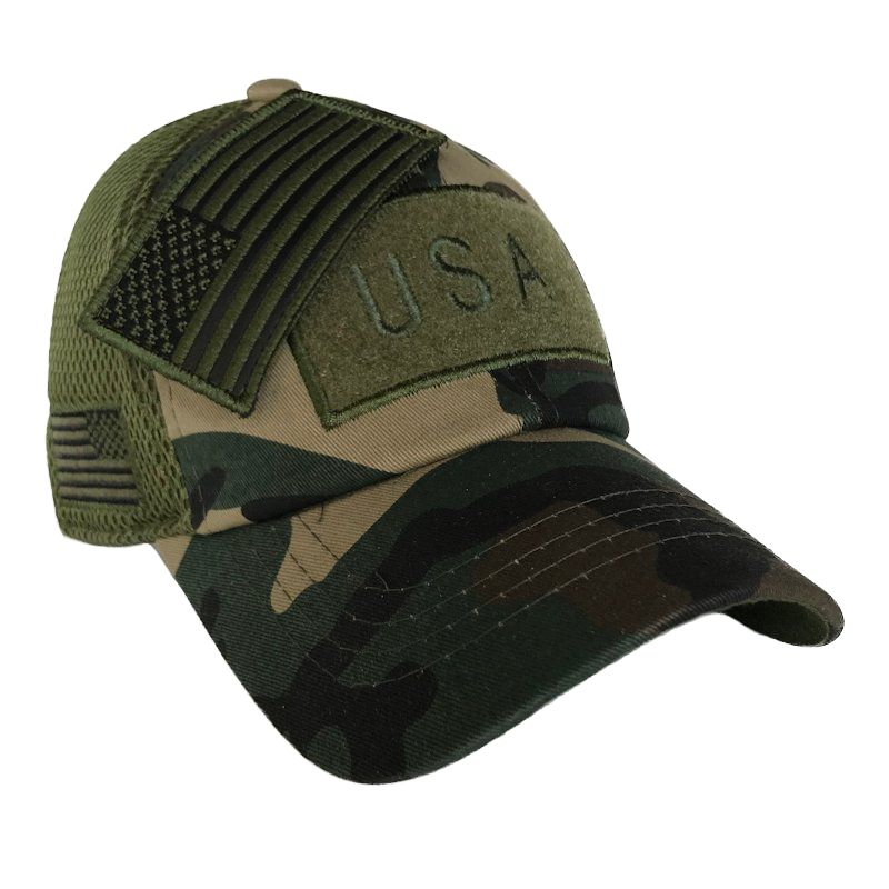 Green Camo American Flag Velcro Patch Hat