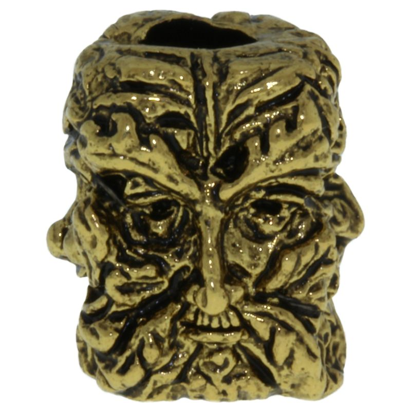 Green Man Bead in 18K Antique Gold Finish by Schmuckatelli Co.