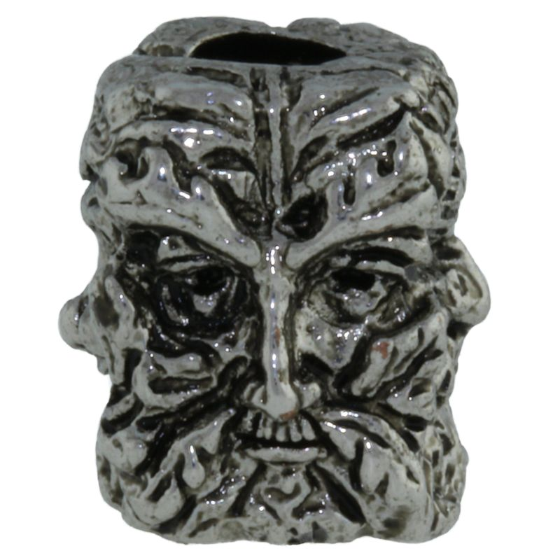 Green Man Bead in Antique Rhodium Finish by Schmuckatelli Co.