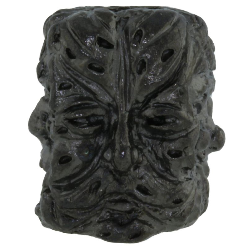 Green Man Bead in Hematite Matte Finish by Schmuckatelli Co.
